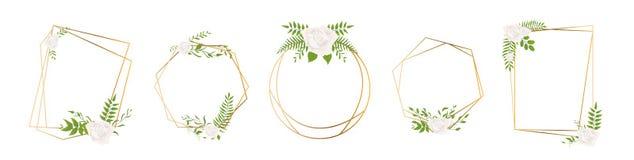 Lokalisierte Goldsammlung des geometrischen Polyeders mit Blättern und Rose, Art- DecoArt für Heiratseinladung, Luxusschablonen stock abbildung