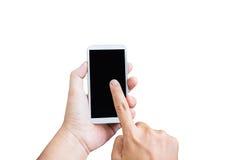 Lokalisierte Handpresse auf leerem schwarzem Schirm des Handys auf whi stockfotografie