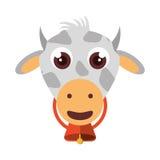 Lokalisierte Ikone der Farm der Tiere der Kuh Stockfotografie