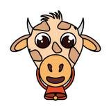 Lokalisierte Ikone der Farm der Tiere der Kuh Lizenzfreie Stockfotografie