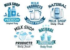 Lokalisierte Ikonen der Milch und der Milchprodukte Vektor Stockbilder