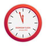 Lokalisierte Illustration der Tag des Jüngsten Gerichts-Uhr (3 Minuten zum Mitternacht) Lizenzfreies Stockfoto