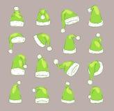 Lokalisierte Illustration des Weihnachts-Santa Claus Green-Elfenhutvektors noel neues Jahr-Christ-Weihnachtspartei-Designdekorati Lizenzfreie Stockfotografie