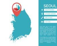 Lokalisierte Illustration Seoul-Karte infographic Vektor Stockbilder