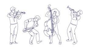 Lokalisierte Jazzmusikband Art der einzelnen Zeile lizenzfreie abbildung