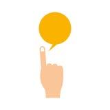 Lokalisierte Kommunikationsblase und Handdesign Lizenzfreies Stockbild