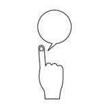 Lokalisierte Kommunikationsblase und Handdesign Stockbilder