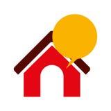 Lokalisierte Kommunikationsblase und Hausdesign Stockfoto
