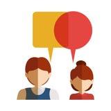 Lokalisierte Kommunikationsblase und Leutedesign Stockfotos