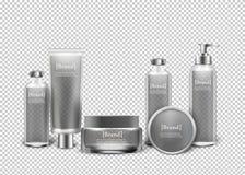 Lokalisierte kosmetische Luxusprodukte in den Flaschen lizenzfreie abbildung