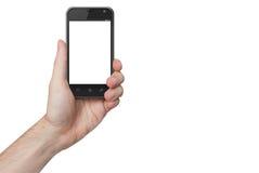 Lokalisierte männliche Hand, die das Telefon lokalisiert hält stockfoto