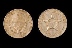 Lokalisierte Münze von Vor-kommunistischem Kuba Lizenzfreie Stockfotografie
