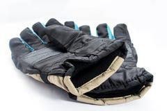 Lokalisierte Paare blaues Schwarzes Handschuhe lizenzfreie stockfotos
