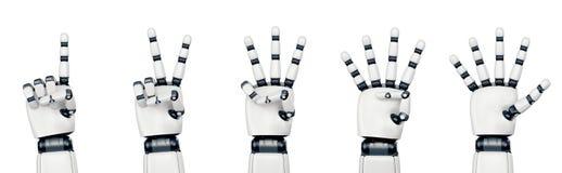 Lokalisierte Roboterhand, die auf Weiß zählt stockfotografie