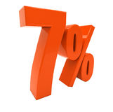 7 lokalisierte rotes Prozent-Zeichen Stockfotografie