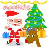 Lokalisierte Santa Claus mit Baum und Ren Stockbild