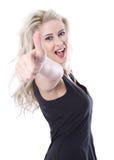 Lokalisierte schöne blonde junge Frau mit dem Daumen oben Stockbild