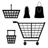 Lokalisierte Schattenbildsammlung mit Karren-LKW, kleiner Warenkorb, Handkarre, Handkarre, Laufkatze Satz von Einkaufselemente Ver Stockbilder