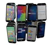 Lokalisierte Smartphonesgruppe Stockbild