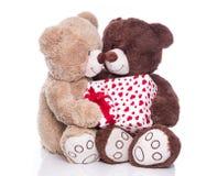 Lokalisierte Teddybären mit einer Geschenkbox für Valentinsgruß. Lizenzfreies Stockbild