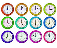 12 lokalisierte Uhrvarianten Lizenzfreies Stockbild