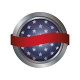 Lokalisierte USA-Flagge innerhalb des Knopfdesigns Stockbild