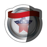 Lokalisierte USA-Flagge innerhalb des Knopfdesigns Lizenzfreies Stockbild