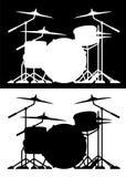 Lokalisierte Vektorillustration des Trommelsatzes Schattenbild in beiden Schwarzweiss stockbilder