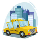 Lokalisierte Vektorkunst des Taxis Auto cityscape gegen den Hintergrund der Stadt Stockfoto