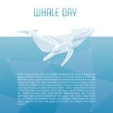 Lokalisierte Walvektorillustration Ozeansäugetier auf dem blauen Hintergrund Stockfotografie