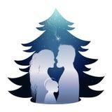 Lokalisierte Weihnachtsbaumkrippe mit heiliger Familie Schattenbildprofil auf blauem Hintergrund stock abbildung