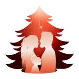 Lokalisierte Weihnachtsbaumkrippe mit heiliger Familie Schattenbildprofil auf rotem Hintergrund lizenzfreie abbildung