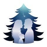 Lokalisierte Weihnachtsbaumkrippe mit heiliger Familie Schattenbildprofil Whit Joseph - Mary und Baby Jesus auf blauem Hintergrun lizenzfreie abbildung