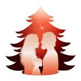 Lokalisierte Weihnachtsbaumkrippe mit heiliger Familie Schattenbildprofil Whit Joseph - Mary und Baby Jesus auf rotem Hintergrund stock abbildung