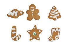 Lokalisierte Weihnachtslebkuchenplätzchen auf Weiß Lizenzfreie Stockfotografie