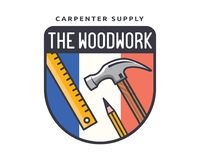 Lokalisierte Weinlese-Holzarbeit-Zimmerei Logo Badge Emblem Illustration Lizenzfreies Stockfoto