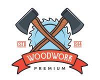 Lokalisierte Weinlese-Holzarbeit-Zimmerei Logo Badge Emblem Illustration Stockbild