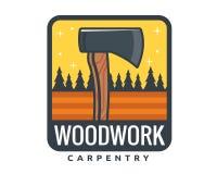 Lokalisierte Weinlese-Holzarbeit-Zimmerei Logo Badge Emblem Illustration Lizenzfreie Stockbilder