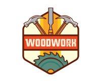 Lokalisierte Weinlese-Holzarbeit-Zimmerei Logo Badge Emblem Illustration Stockfotografie