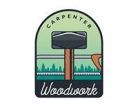 Lokalisierte Weinlese-Holzarbeit-Zimmerei Logo Badge Emblem Illustration Lizenzfreies Stockbild