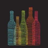 Lokalisierte Zusammenfassungsspiralen-Weinflaschen lizenzfreie abbildung