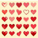 Lokalisierten rote Herzikonen Differents-Vektors Liebe Valentine Day-Symbole und romantische Herzen entwerfen die schöne Heirat Stockbild