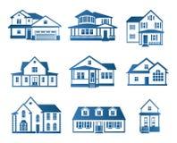 Lokalisierter abstrakter blauer Farbhauskonturn-Logosatz Immobiliengebäudefirmenzeichensammlung Kaufeigentum Stockbild