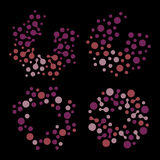 Lokalisierter abstrakter Logosatz der runden Form lila Farb, punktierte stilisierte Sonnenfirmenzeichensammlung auf schwarzem Hin Lizenzfreies Stockbild