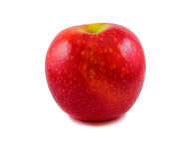 Lokalisierter Apfel steht auf dem Tisch auf einem weißen Hintergrund Stockbilder