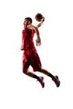 Lokalisierter Basketball-Spieler in der Aktion fliegt Lizenzfreie Stockbilder