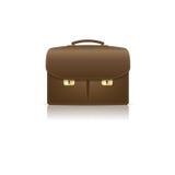 Lokalisierter brauner lederner Aktenkoffer hergestellt vom croco Lizenzfreies Stockfoto
