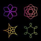 Lokalisierter bunter abstrakter Blumenvektorlogosatz Blumenbildsammlung Lizenzfreies Stockfoto