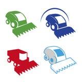 Lokalisierter bunter Mähdreschervektor-Logosatz Landwirtschaftliche Ausrüstungsfirmenzeichen Stockfotografie