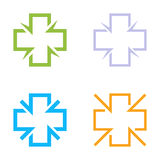 Lokalisierter bunter Quervektorlogosatz Medizinische Zeichenkonturn-Firmenzeichensammlung Krankenhaussymbolgruppe auf dem Weiß Lizenzfreie Stockbilder
